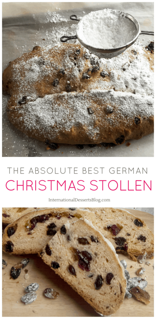 German Christmas Stollen bread is my favorite traditional holiday pastry! Buttery, tender, you can make it with or without raisins or marzipan. It's so not fruitcake! You've got to try this easy recipe for the holidays! #holidaybaking #germanchristmas #intldessertsblog