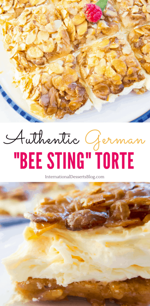 "This authentic German ""Bee Sting"" cake recipe is one of my all time favorites! It's an easy traditional cake to make. You'll love the honey almond topping and the creamy pastry cream filling! #germanrecipes #cake #intldessertsblog"