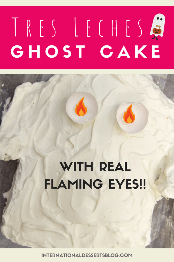 Remember this Flaming Eye Ghost Cake from childhood? The eyes glow in the dark! I made this one even better by making a Tres Leches Cake. So cute for a Halloween party or birthday!