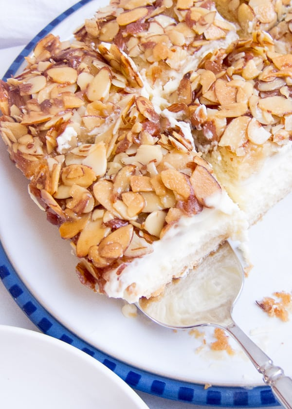 First You Make The Dough While Its Rising Honey Almond Topping Cake Is Baking Filling Assemble Let It Chill For