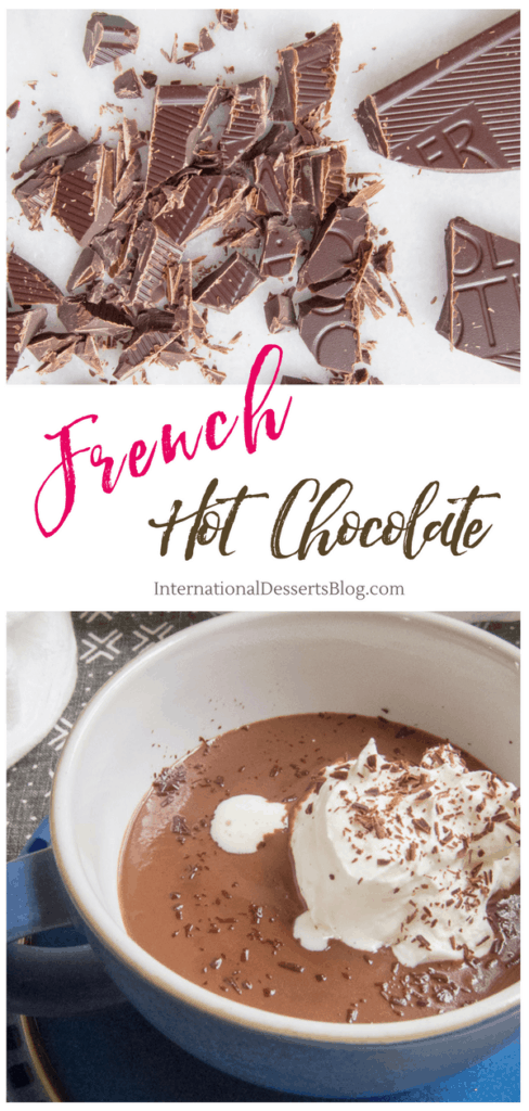 Decadent French style hot chocolate! Simple, elegant, rich and velvety. Only 2 ingredients needed!