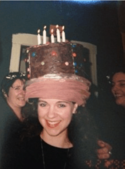 Yes, those are real candles and that's real icing on my cake hat!