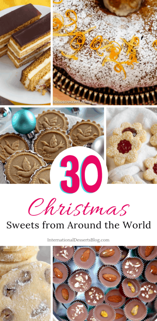 30 easy, creative, and impressive Christmas dessert recipes from around the world! Cute cakes, classic cookies, gluten freesweets and treats for kids and adults. They make great homemade gifts and are perfect for holiday parties and cookie exchanges. #christmascookies #holidaybaking #intldessertsblog