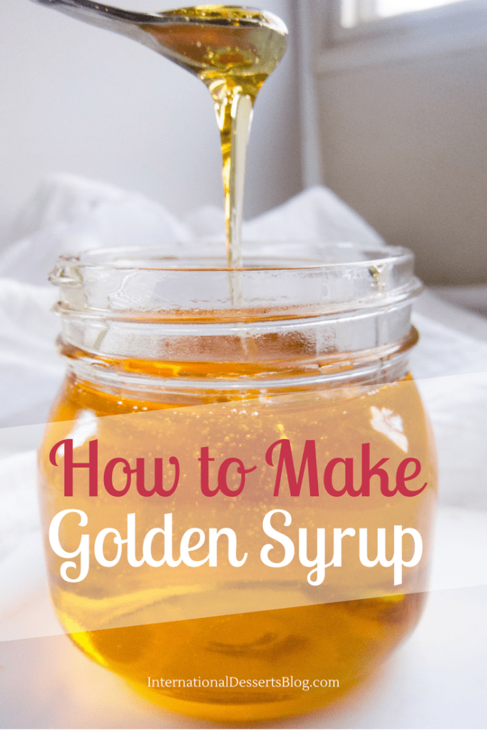 homemade golden syrup in a glass jar