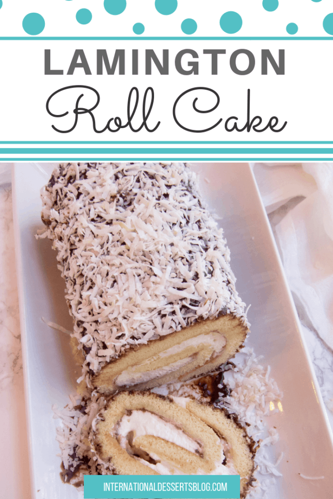 I love this jam and cream-filled Australian cake! It's the perfect cake recipe for Australia day. It's a simple vanilla cake with jam, whipped cream, chocolate, and coconut! #easydesserts #australia #intldessertsblog