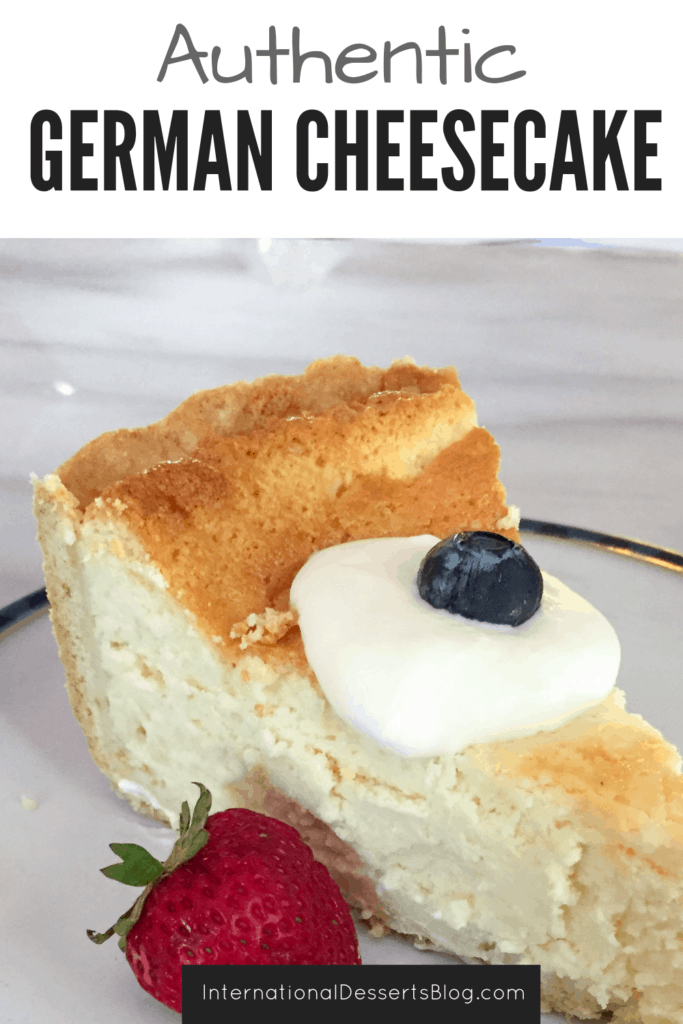 This easy & authentic German Cheesecake is so good! Make it with quark or cottage cheese, no sour cream needed. Tastes like what you get in Germany. Click to get the recipe for this traditional German cheesecake! #germandesserts #cheesecake #intldessertsblog