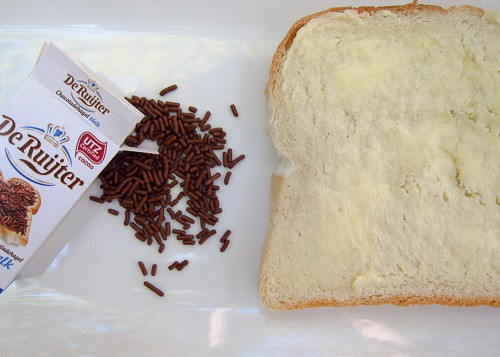 Dutch hagelslag - bread, butter, and Dutch chocolate sprinkles