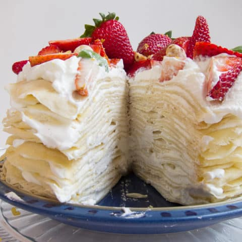 Lemon Strawberry Mille Crepe Cake