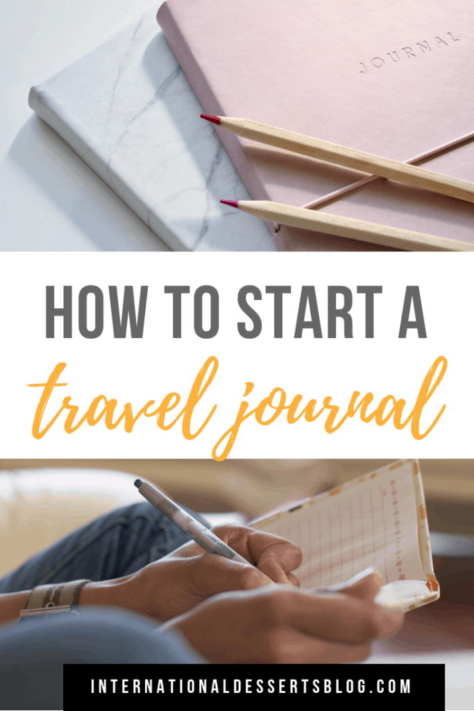 Tips and ideas for how to start a travel journal that turns into a scrapbook! Inspiration for supplies, prompts, and pages. Click for tips and ideas on how to make a DIY travel journal kit! #traveljournal #traveljournaling #intldessertsblog