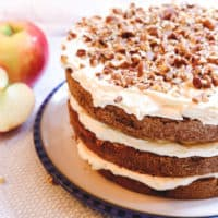 Apple Spice Cake with Brown Butter, Golden Syrup, Mascarpone Swiss Meringue Buttercream