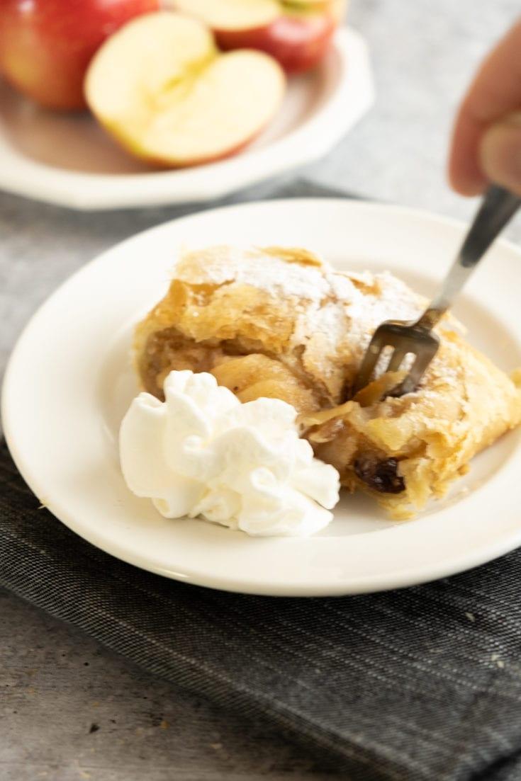 German Apple Strudel with Puff Pastry (Apfelstrudel)